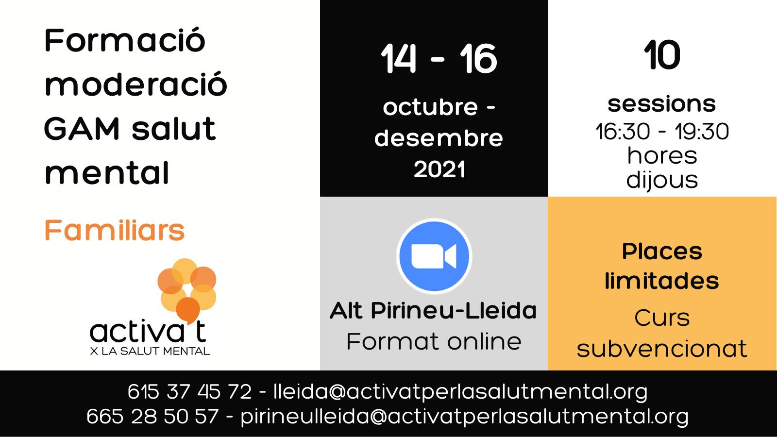 Cartell formació per moderar GAM Alt Pirineu Lleida 2021